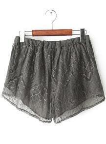 Grey Drawstring Waist Lace Shorts