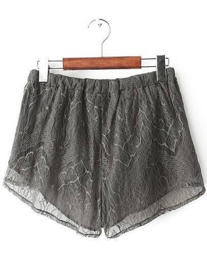 Grey Drawstring Waist Lace Shorts