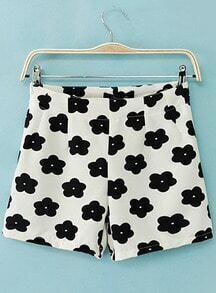White High Waist Floral Straight Shorts