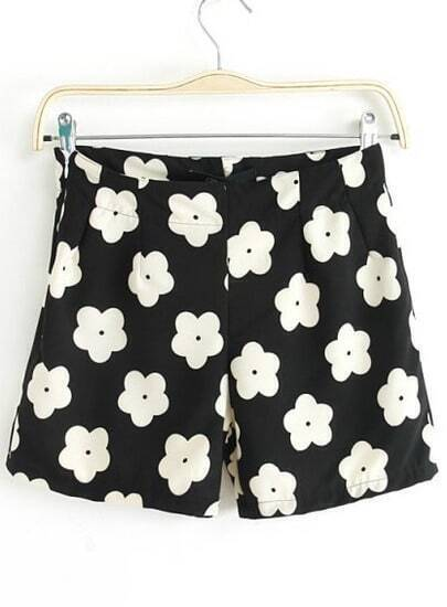 Black High Waist Floral Straight Shorts