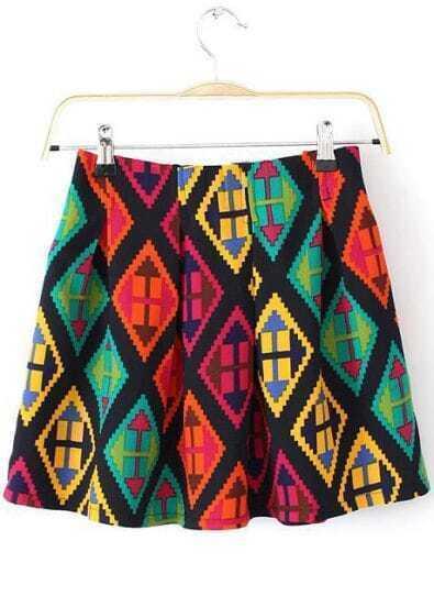 Multicolor Geometric Print Pleated Skirt
