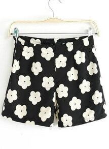 Black High Waist Floral Straight Shorts