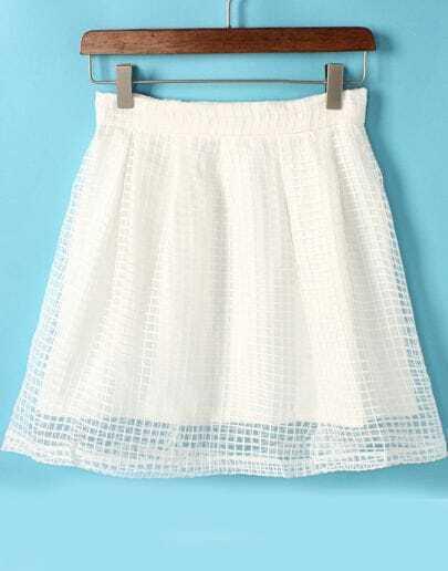 White Hollow Mesh Yoke Zipper Skirt