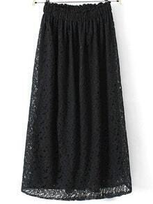 Black Elastic Waist Hollw Floral Crochet Skirt