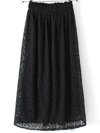 Black Elastic Waist Hollw Floral Crochet Skirt
