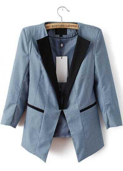 Blue Contrast Lapel Slim Blazer