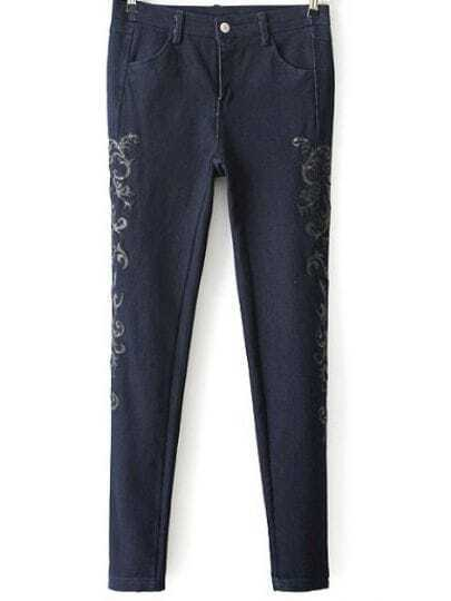 Blue Pockets Embroidered Denim Pant