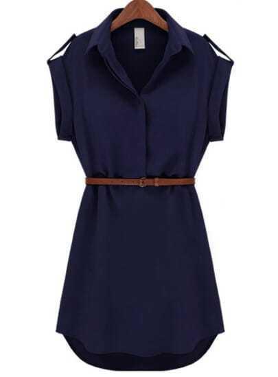 Navy Overalls Lapel Short Sleeve Loose Chiffon Dress