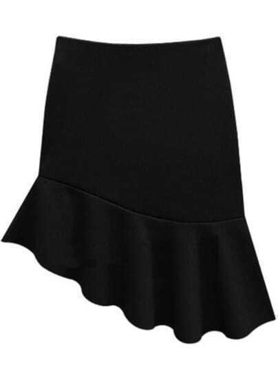 Black Asymmetrical Ruffle Bodycon Skirt