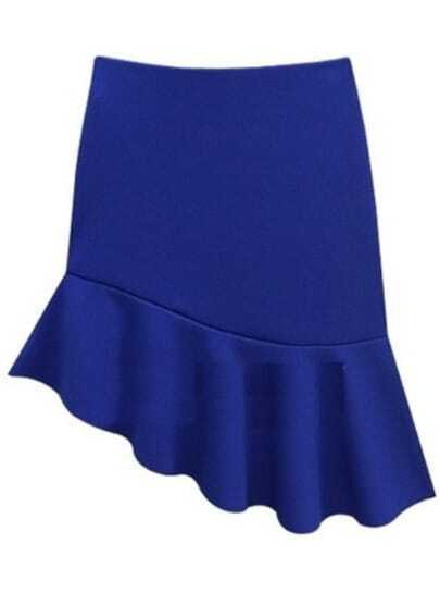 Blue Asymmetrical Ruffle Bodycon Skirt