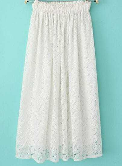 White Elastic Waist Hollw Floral Crochet Skirt