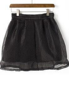 Black Hollow Mesh Yoke Zipper Skirt