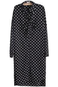 Black Long Sleeve Polka Dot Bow Dress