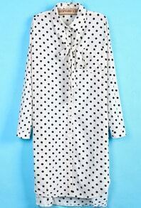 White Long Sleeve Polka Dot Bow Dress