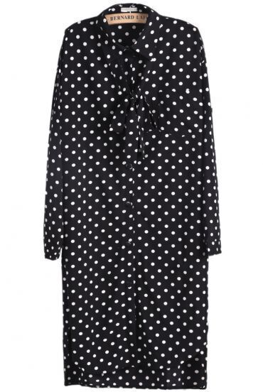 Black Long Sleeve Polka Dot Bow Dress