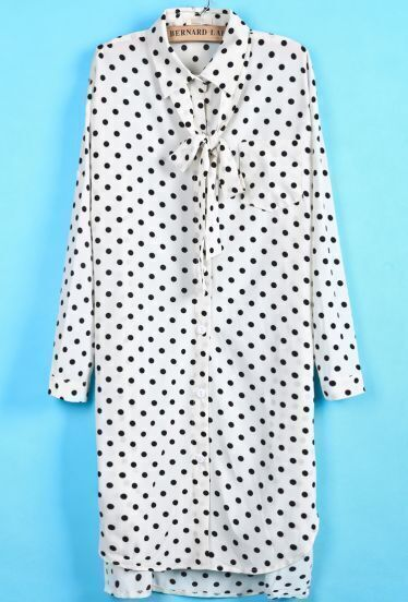 White Long Sleeve Polka Dot Bow Dress