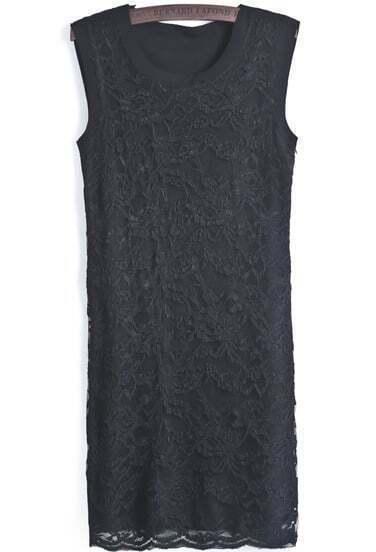 Black Round Neck Sleeveless Slim Lace Dress
