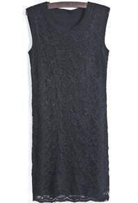 Black Round Neck Sleeveless Slim Lace Dress