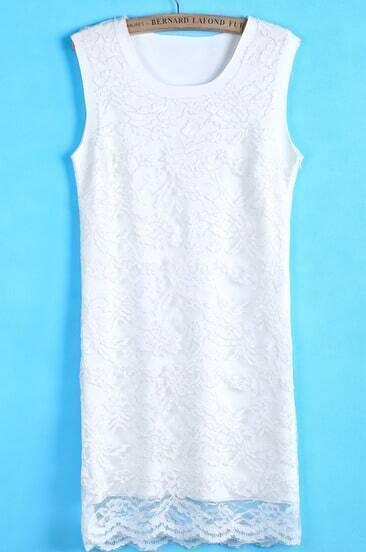 White Round Neck Sleeveless Slim Lace Dress