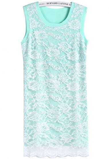 Green Round Neck Sleeveless Slim Lace Dress
