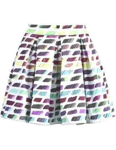 Purple Striped Ruffle Skirt