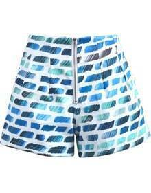 Blue Gradients Striped Zipper Shorts