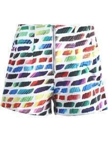 Green Gradients Striped Zipper Shorts