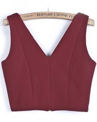 Red V Neck Zipper Crop Vest