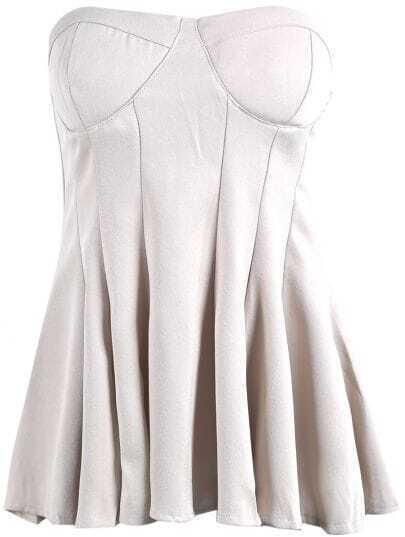 Apricot Strapless Ruffle Slim Vest