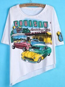 White Short Sleeve Car Print Asymmetrical T-Shirt