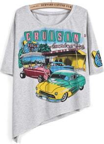 Grey Short Sleeve Car Print Asymmetrical T-Shirt