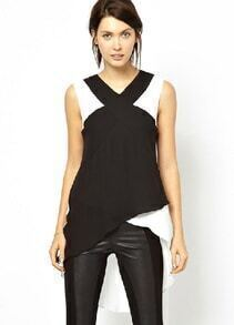 Black Contrast White Sleeveless Asymmetrical Chiffon Blouse