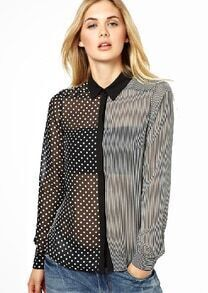 Black Lapel Polka Dot Vertical Stripe Blouse