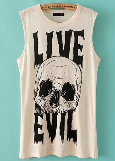 Beige Sleeveless Skull Letters Print T-Shirt