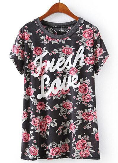 Black Short Sleeve Floral Letters Print T-Shirt