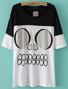 Black White Short Sleeve Skull Print T-Shirt