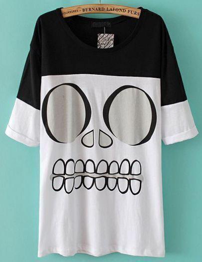 Black White Short Sleeve Skull Print T-Shirt
