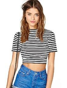 Black White Striped Short Sleeve Crop T-Shirt