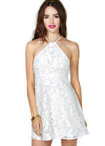 White Halter Floral Crochet Lace Dress