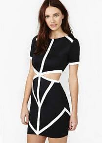 Black Short Sleeve Hollow Bodycon Bandage Dress