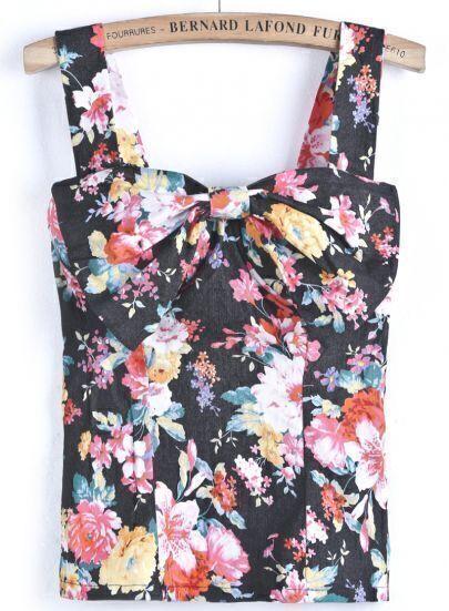 Black Spaghetti Strap Floral Bow Vest