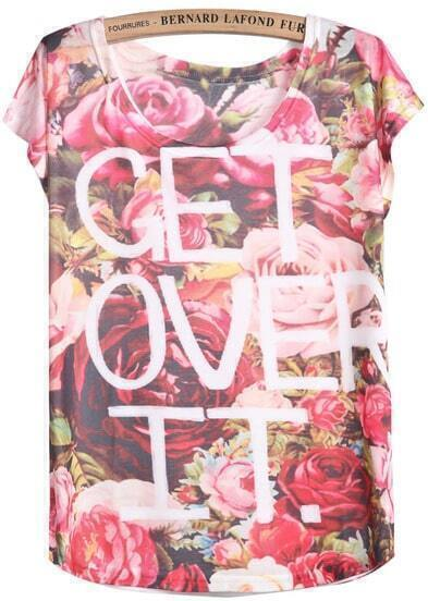 Red White Short Sleeve Floral Letters Print T-Shirt
