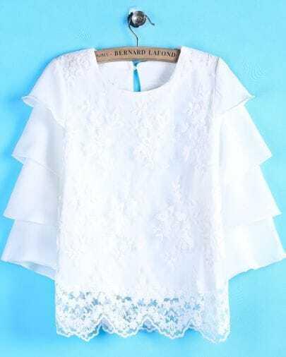 Blusa bordada manga volante-blanco