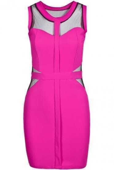 Rose Red Sleeveless Midriff Body Conscious Dress