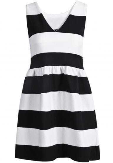 Black White Striped V Neck Elastic Dress