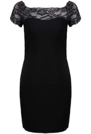 Black Contrast Lace Short Sleeve Bodycon Dress