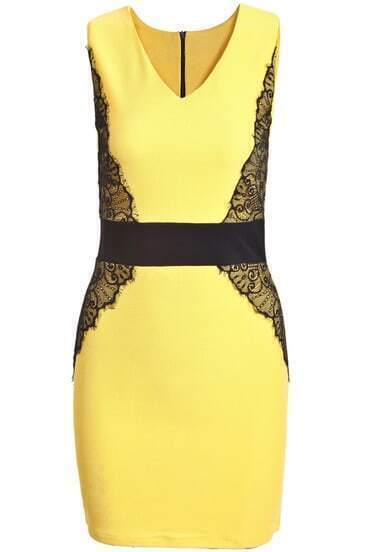Yellow Lemons Contrast Lace V Neck Bodycon Dress