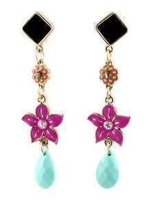 Black Geometric Flower Gold Earrings