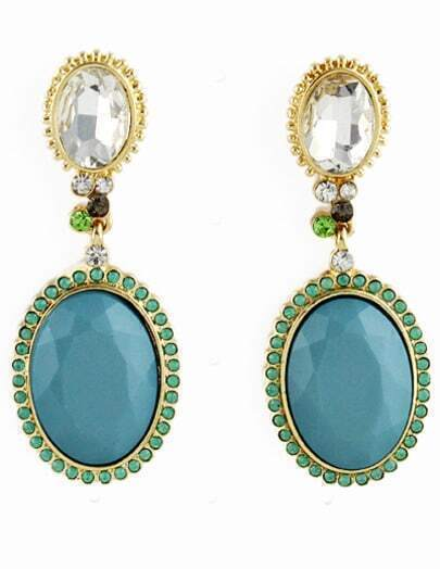 Green Gemstone Gold Diamond Drop Earrings