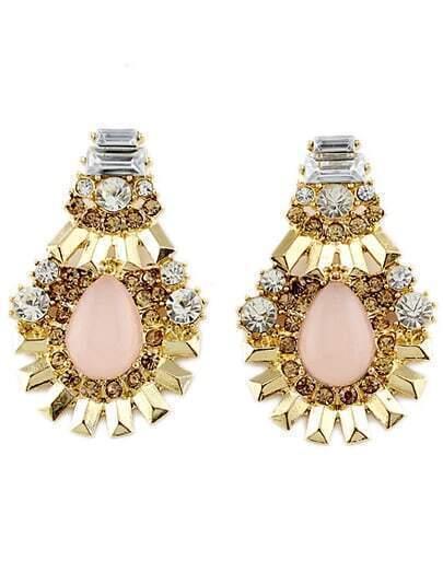 Pink Gemstone Gold Diamond Earrings